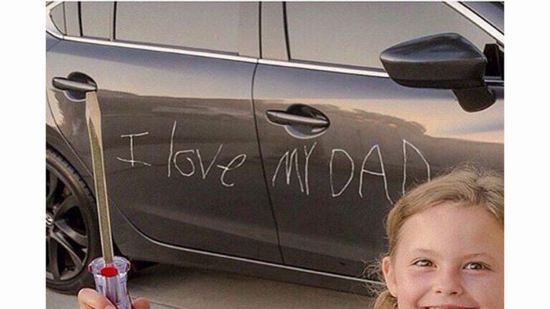 「我愛爸爸」女孩愛心劃字 獲讚父親節最佳禮物