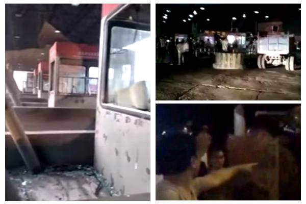 """唐山收费站殴打回民酿骚乱 防暴警察被围""""跪下""""呼声震野(视频)"""