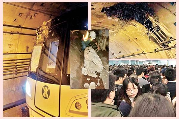 深圳地鐵隧道遭樁頭擊穿 列車猛撞車頭損毀