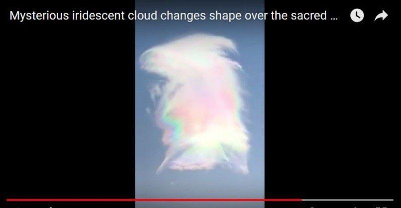 五台山上空出现五彩云朵 变化迅速(视频)
