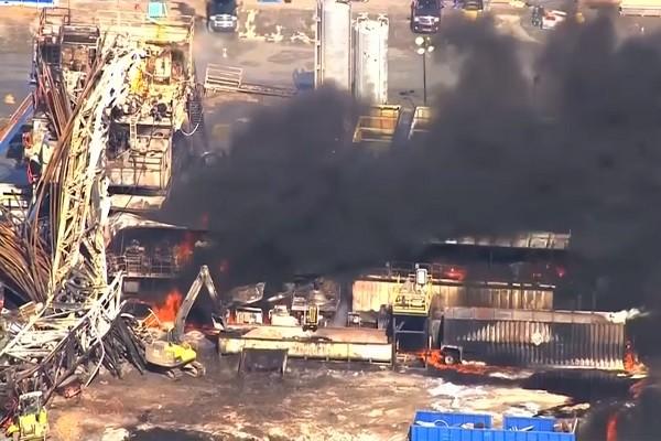 美奧州鑽井平台爆炸 猛烈火勢竄燒5工人失蹤