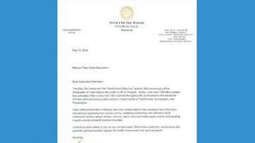 美國密蘇里州聖路易市長祝賀法輪大法日