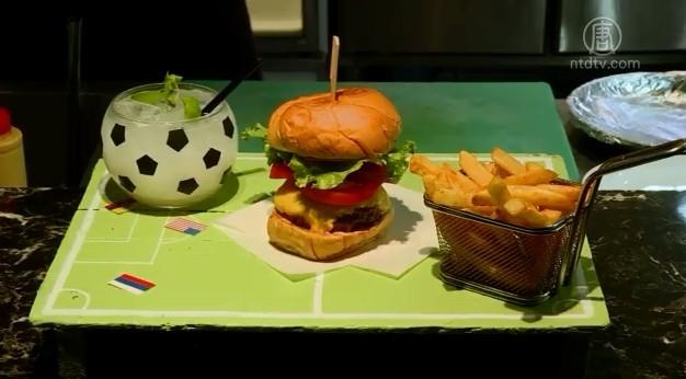 球场托盘 足球杯!足球汉堡套餐超吸睛