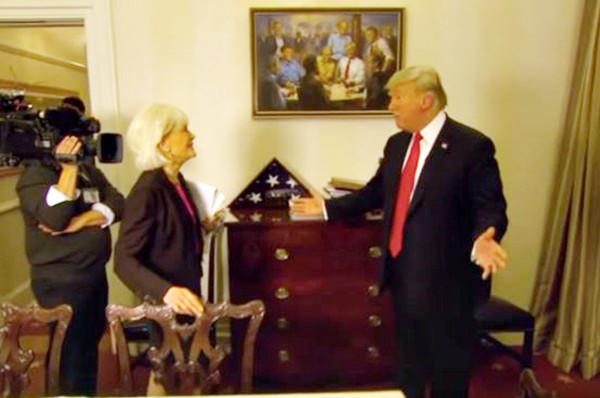 穿越時空畫作網絡爆紅 川普與前任總統談笑風生
