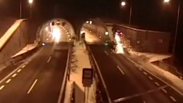 BMW衝天翻360度墜進隧道 警:駕駛睡著了