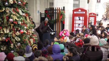 學生自製亮麗裝飾 皇后區Astoria聖誕樹點燈