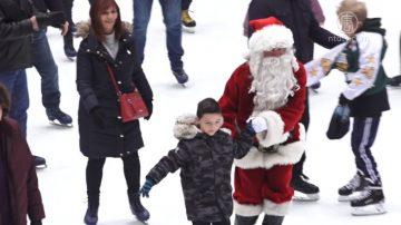 紐約洛克菲勒中心滑冰場 聖誕老人現身同樂