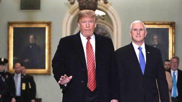川普访参院 共和党人支持总统建墙案