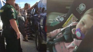 """偷车贼""""重操旧业"""" 2分钟打开反锁车门救女婴(视频)"""