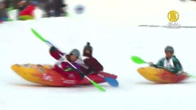 寒冷地區運動 獨木舟也能在雪地划